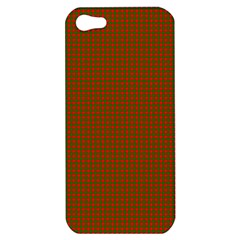 Classic Christmas Red And Green Houndstooth Check Pattern Apple Iphone 5 Hardshell Case by PodArtist