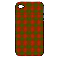 Classic Christmas Red And Green Houndstooth Check Pattern Apple Iphone 4/4s Hardshell Case (pc+silicone) by PodArtist