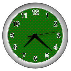 Mini Red Dots On Christmas Green Wall Clocks (silver)  by PodArtist