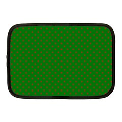 Mini Red Dots On Christmas Green Netbook Case (medium)  by PodArtist