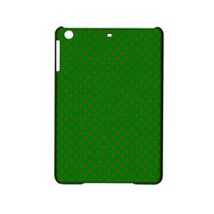 Mini Red Dots On Christmas Green Ipad Mini 2 Hardshell Cases by PodArtist