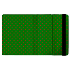 Mini Red Dots On Christmas Green Apple Ipad Pro 12 9   Flip Case by PodArtist