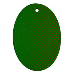 Mini Red Dots On Christmas Green Ornament (oval) by PodArtist