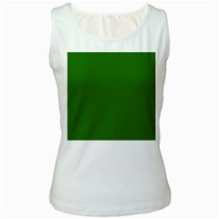 Mini Red Dots On Christmas Green Women s White Tank Top by PodArtist