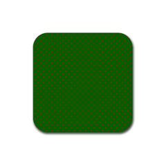 Mini Red Dots On Christmas Green Rubber Square Coaster (4 Pack)  by PodArtist