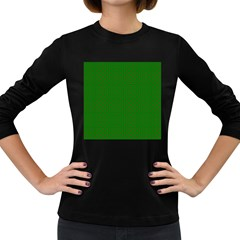 Mini Red Dots On Christmas Green Women s Long Sleeve Dark T Shirts by PodArtist