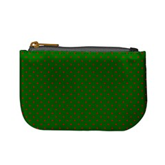 Mini Red Dots On Christmas Green Mini Coin Purses by PodArtist