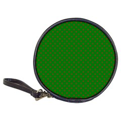 Mini Red Dots On Christmas Green Classic 20 Cd Wallets by PodArtist