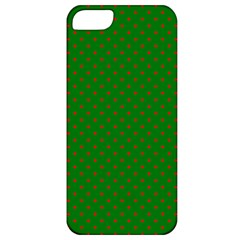 Mini Red Dots On Christmas Green Apple Iphone 5 Classic Hardshell Case by PodArtist