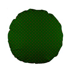 Mini Red Dots On Christmas Green Standard 15  Premium Flano Round Cushions by PodArtist