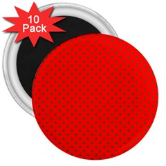 Small Christmas Green Polka Dots On Red 3  Magnets (10 Pack)  by PodArtist