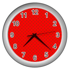 Small Christmas Green Polka Dots On Red Wall Clocks (silver)  by PodArtist