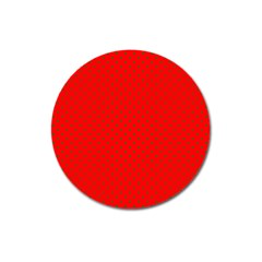 Small Christmas Green Polka Dots On Red Magnet 3  (round) by PodArtist