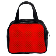 Small Christmas Green Polka Dots On Red Classic Handbags (2 Sides) by PodArtist