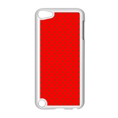 Small Christmas Green Polka Dots On Red Apple Ipod Touch 5 Case (white) by PodArtist
