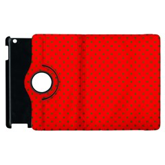 Small Christmas Green Polka Dots On Red Apple Ipad 2 Flip 360 Case by PodArtist