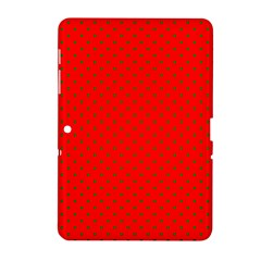 Small Christmas Green Polka Dots On Red Samsung Galaxy Tab 2 (10 1 ) P5100 Hardshell Case  by PodArtist