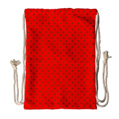 Small Christmas Green Polka Dots On Red Drawstring Bag (large) by PodArtist