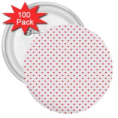 Small Christmas Red Polka Dot Hearts On Snow White 3  Buttons (100 Pack)  by PodArtist