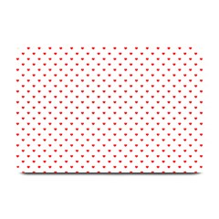 Small Christmas Red Polka Dot Hearts On Snow White Plate Mats by PodArtist