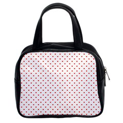 Small Christmas Red Polka Dot Hearts On Snow White Classic Handbags (2 Sides) by PodArtist