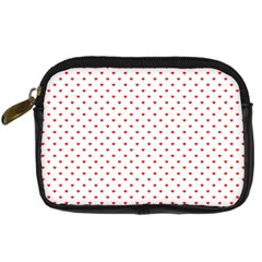 Small Christmas Red Polka Dot Hearts On Snow White Digital Camera Cases by PodArtist