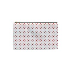 Small Christmas Red Polka Dot Hearts On Snow White Cosmetic Bag (small)  by PodArtist