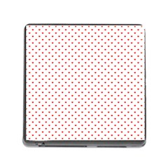 Small Christmas Red Polka Dot Hearts On Snow White Memory Card Reader (square) by PodArtist