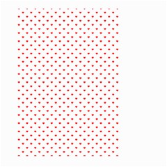 Small Christmas Red Polka Dot Hearts On Snow White Large Garden Flag (two Sides) by PodArtist