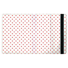 Small Christmas Red Polka Dot Hearts On Snow White Apple Ipad 2 Flip Case by PodArtist