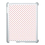 Small Christmas Red Polka Dot Hearts On Snow White Apple iPad 3/4 Case (White) Front