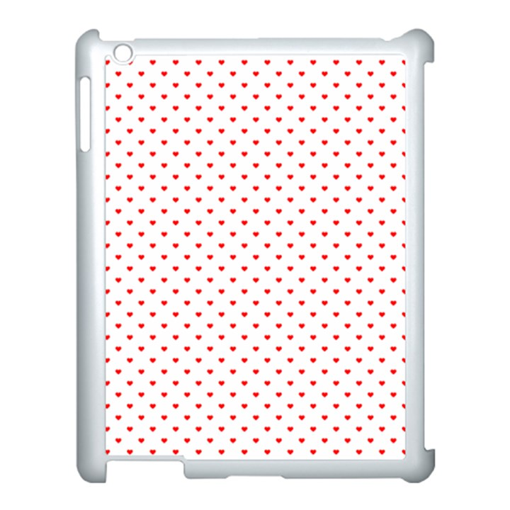 Small Christmas Red Polka Dot Hearts On Snow White Apple iPad 3/4 Case (White)