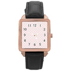 Small Christmas Red Polka Dot Hearts On Snow White Rose Gold Leather Watch  by PodArtist