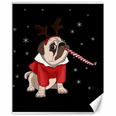 Pug Xmas Canvas 16  X 20   by Valentinaart
