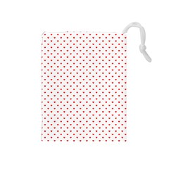 Small Christmas Red Polka Dot Hearts On Snow White Drawstring Pouches (medium)  by PodArtist