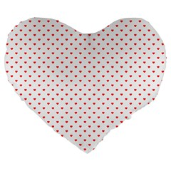 Small Christmas Red Polka Dot Hearts On Snow White Large 19  Premium Flano Heart Shape Cushions by PodArtist