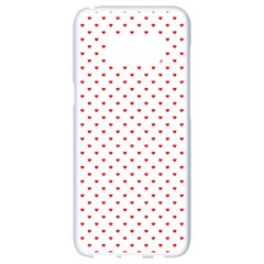 Small Christmas Red Polka Dot Hearts On Snow White Samsung Galaxy S8 White Seamless Case by PodArtist