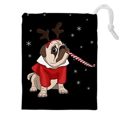 Pug Xmas Drawstring Pouches (xxl) by Valentinaart