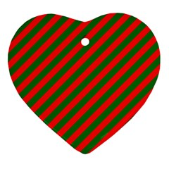 Red And Green Christmas Candycane Stripes Ornament (heart) by PodArtist