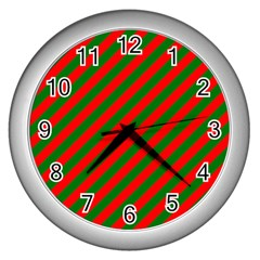 Red And Green Christmas Candycane Stripes Wall Clocks (silver)  by PodArtist