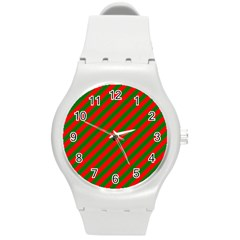 Red And Green Christmas Candycane Stripes Round Plastic Sport Watch (m) by PodArtist
