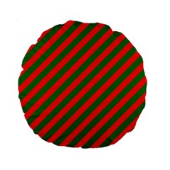 Red And Green Christmas Candycane Stripes Standard 15  Premium Round Cushions by PodArtist