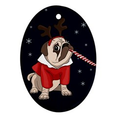 Pug Xmas Ornament (oval) by Valentinaart
