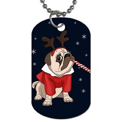 Pug Xmas Dog Tag (two Sides) by Valentinaart