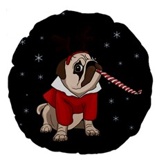 Pug Xmas Large 18  Premium Round Cushions by Valentinaart