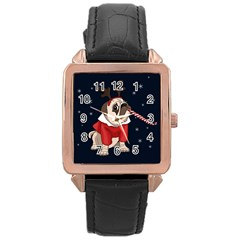 Pug Xmas Rose Gold Leather Watch