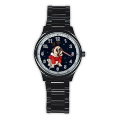 Pug Xmas Stainless Steel Round Watch
