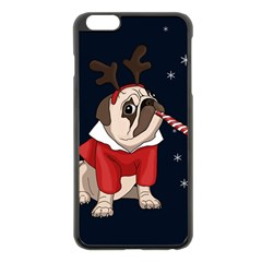 Pug Xmas Apple Iphone 6 Plus/6s Plus Black Enamel Case by Valentinaart