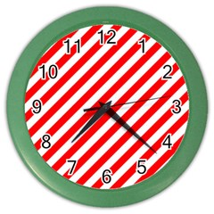 Christmas Red And White Candy Cane Stripes Color Wall Clocks by PodArtist