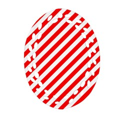Christmas Red And White Candy Cane Stripes Ornament (oval Filigree) by PodArtist